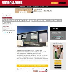 TNT Global Manufacturing renforce ses capacités au Portugal