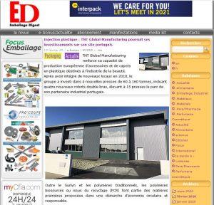 Injection plastique : TNT Global Manufacturing poursuit ses investissements sur son site portugais